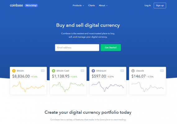 Coinbase Home Screen