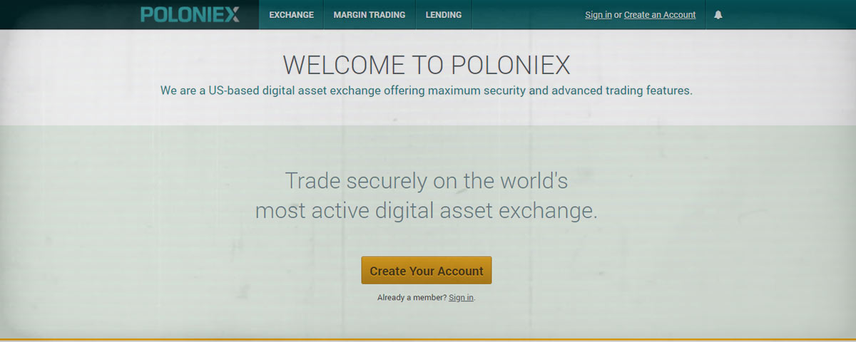 Poloniex Home Screen