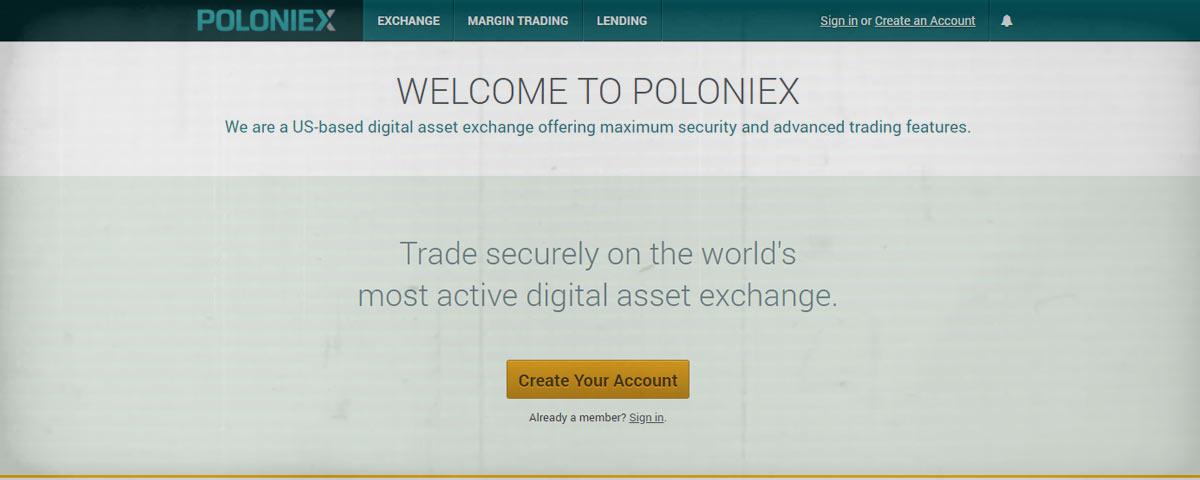 Poloniex Home Screen