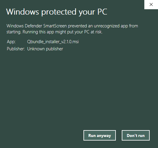 Windows Protected Run Anyway