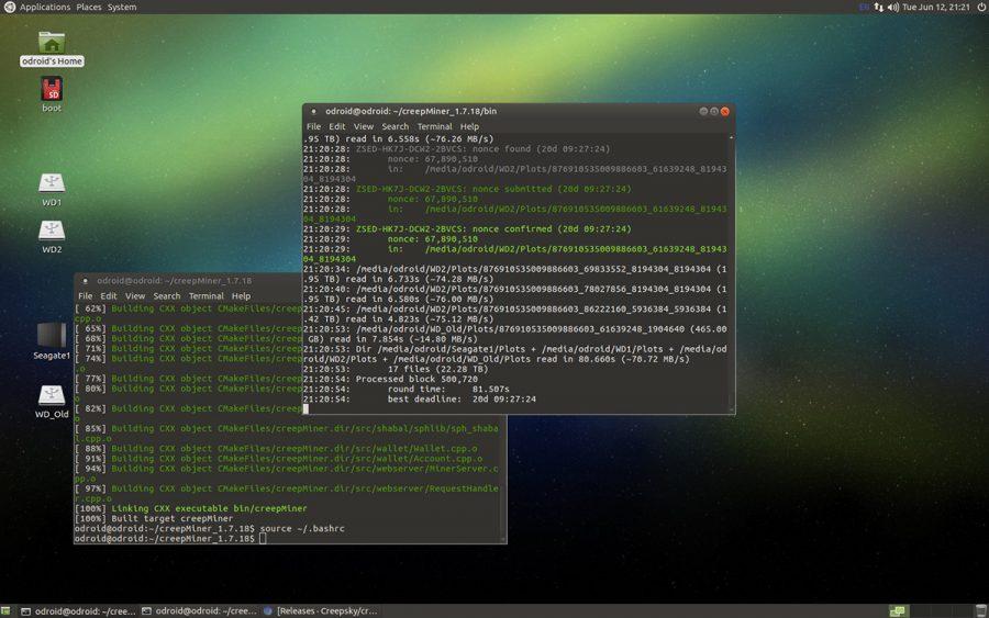 creepMiner running with PoC2 plot file