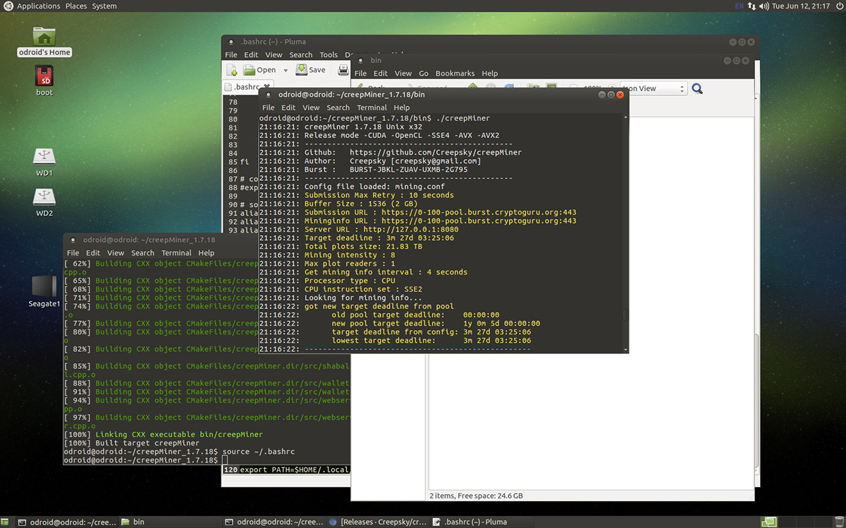 Compiling creepMiner 1.7.18